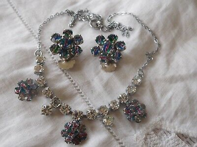 Dazzling Vintage 1950s IRIS Glass Necklace & Clip On Earrings