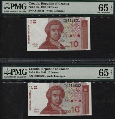 "TT PK 18a 1991 CROATIA 10 DINARA ""BOSKOVIC"" PMG 65 EPQ GEM UNC- SET OF TWO NOTES"