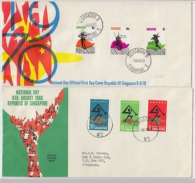 SINGAPORE 1968/70 *NATIONAL DAY* 2x official illustrated FDCs