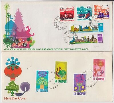SINGAPORE 1971 VISIT ASEAN YEAR & NATIONAL DAY 2x official illustrated FDCs
