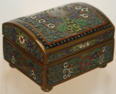 Chinese Champleve Cloisonne Enamel Hinged Box with Curved Domed Lid