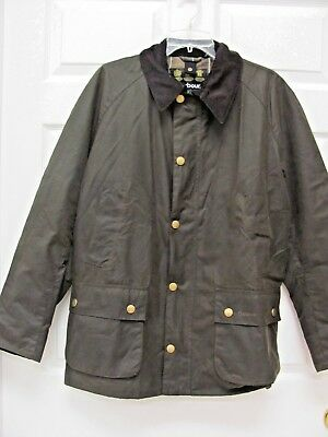 Barbour Ashby Jacket Olive Waxed Cotton Men's L Tartan Lining Snap-on Hood