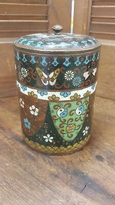 Antique Chinese Cloisonne Lidded Jar Box With Yin Yang, Butterfly & Floral