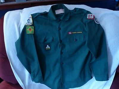 Vintage Scouts Canada Boy Scout Green Uniform Shirt First Langton Road Runner ON
