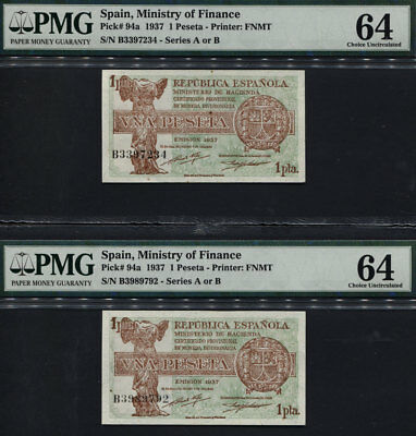TT PK 94a 1937 SPAIN 1 PESETA PMG 64 CHOICE UNCIRCULATED SET OF TWO NOTES!