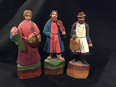 Vintage Russian Handcarved  Wood Folk Art Figures Figurines