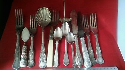Job Lot Vintage Collectable  Silver Plated Etc Cutlery Spoons Knife