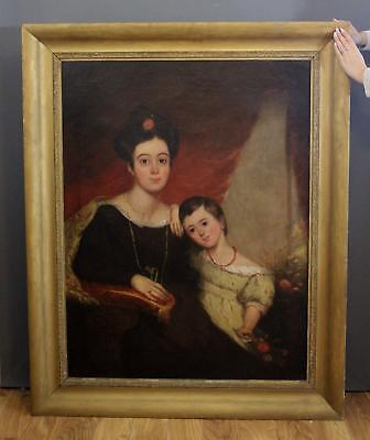 Large 19thC Antique American Portrait Oil Painting, Victorian Mother & Child, NR