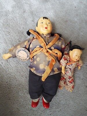 "9"" Vintage Antique Chinese Character Composition Doll With Child Nr"