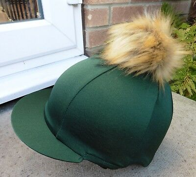 Lycra Riding Hat Silk skull cap cover BOTTLE GREEN  Extra Large Faux Fur Pompom