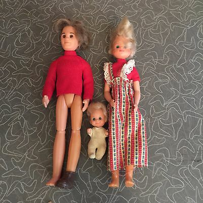 Vintage Mattel 1973 Sunshine Family Doll Set of 3