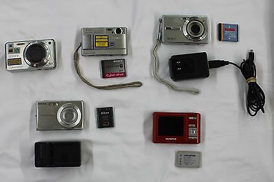 ■ Lot of 5 Digital Cameras Olympus, Kodak, Sony, Nikon For Parts, As-is ■