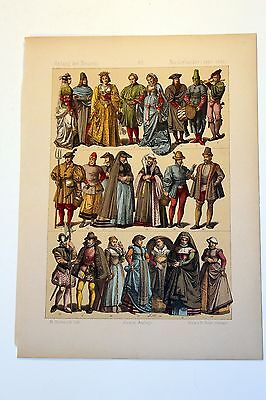 Antique MIDDLE AGES COSTUME Print by F. Hottenroth-1884 NETHERLANDS / DUTCH