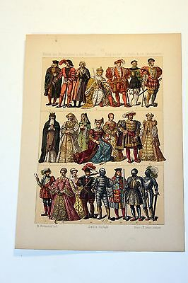 Antique MIDDLE AGES COSTUME Print by F. Hottenroth-1884 ENGLISHMAN 16th Century