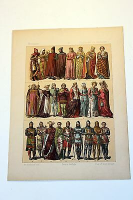 Antique MIDDLE AGES COSTUME Print by F. Hottenroth-1884 ENGLISHMEN 14th Century