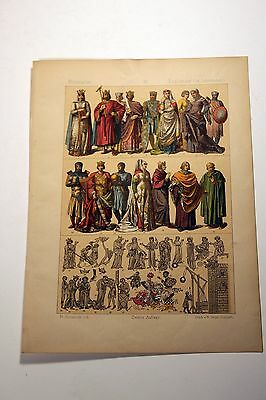 Antique MIDDLE AGES COSTUME Print by F. Hottenroth-1884 ENGLISHMEN 13th Century