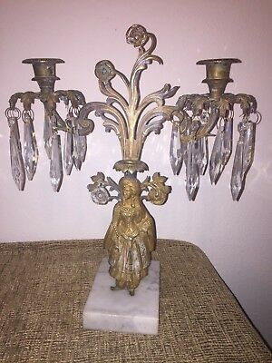 "Victorian ""Lady Sultan"" Girandoles Candelabra Mantle Garniture wPrisms 19thc"