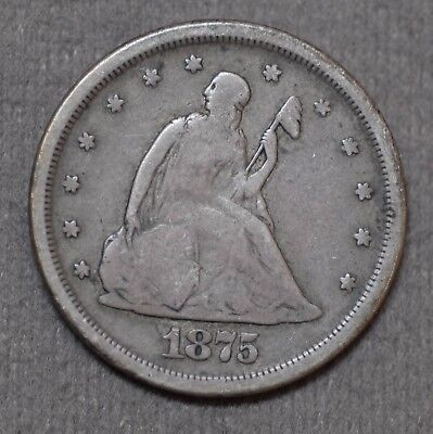 Very Nice Scarce 1875 S Seated Liberty 90% Silver 20 Twenty Cent Coin No Reserve