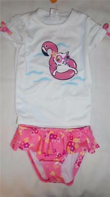 NEW Girls Size 3T Gymboree Swimsuit Cat Flamingo Rash Guard Shirt & Bottoms NWT