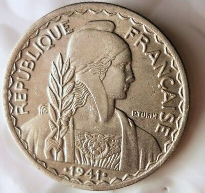 1941 FRENCH INDOCHINA 20 CENTIMES - AU/UNC - Great WW2 Era Coin -Lot #Fb15