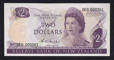 New Zealand  P-164b. (1968-75) Two Dollars..  Wilks.. 1st Prefix OEO.. aU-UNC