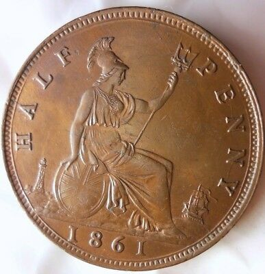 1861 GREAT BRITAIN 1/2 PENNY - AU/UNC GEM - Massive Value Coin - Awesome - FB15