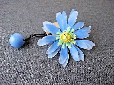 Vintage Nice Design Sky Blue Plastic Large Flower Pony Tail Hair Band Unused #2