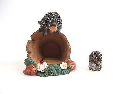 Set of 2 Bramble & Clover Hedgehogs on Pot & w/ Watering Can Innovations Inc