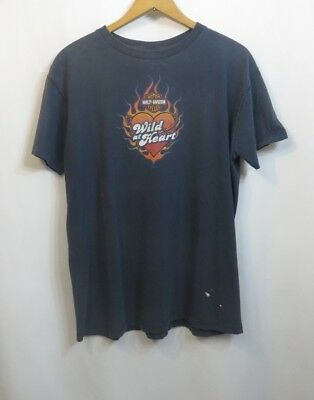 Vintage Tshirt Harley Davidson Cotton Wild at Heart Boston Hts OH Distressed