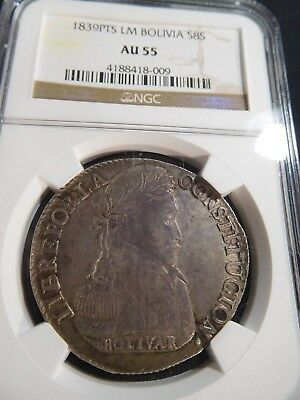 T69 Bolivia 1828-PTS, LM Silver 8 Soles NGC AU-55