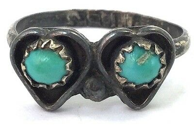 Vintage Double Heart Ring Turquoise Stone Size 5.5 Signed S. Luna Jewelry