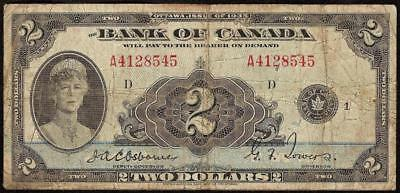 1935 $2 Two Dollar Bill Bank Of Canada Canadian Currency Note Paper Money Bc-3