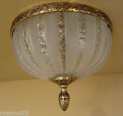 Vintage Lighting 1950 Hollywood Regency cracked ice foyer More Available