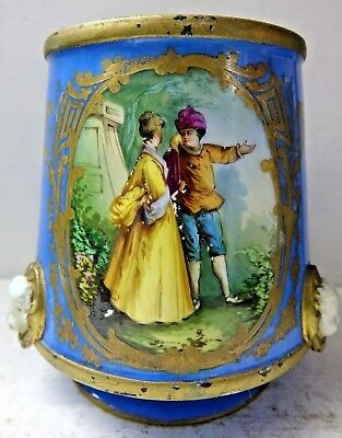 Very Fine Quality Early Planter - Sevres Style - Raised Heads - Hand Painted