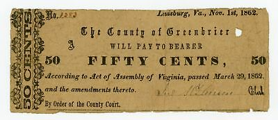 1862 50c County of Greenbrier - Lewisburg, (WEST) VIRGINIA Note CIVIL WAR Era