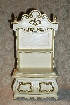 Vintage Plastic Jewelry Display Case French Provincial Cabinet ~Drawer & Shelves