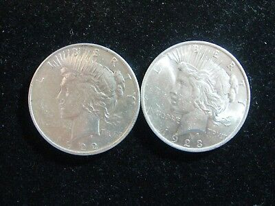 2 Peace Silver Dollars About Unc Common Dates 2 Pcs  Free Shipping!