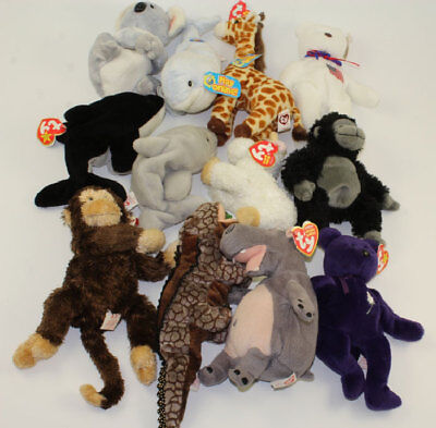 Lot of 12 TY Beanie Babies (Aussie Clipper Topper Cornstalk Tumba Princess) *NM*