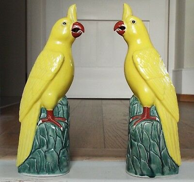 Striking Vintage Chinese Pair of Yellow Parrot Cockatoo Birds Figures Figurines