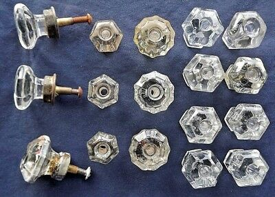 Mixed Lot - 17 Old Vintage & Antique Clear Glass Drawer Pulls Cabinet Door Knobs