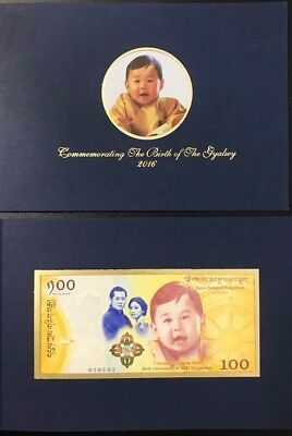 Bhutan 100 Ngultrum 2016 2018 Comm. Royal Baby P New Unc With Folder