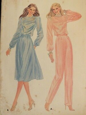 VTG 70s BUTTERICK 3485 Misses Blouse Camisole Skirt & Pants PATTERN 12/34B XC!