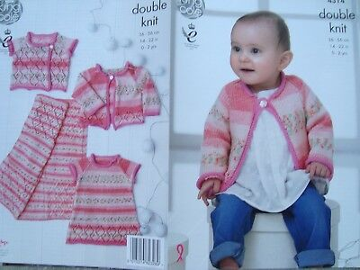 King Cole 4314 Baby's Dress,Cardigans & Blanket DK Knitting Pattern Sizes 14-22""
