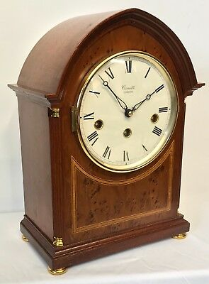 Vintage Comitti Mahogany & Burr Yew 8 Day Westminster Chime Musical Mantel Clock