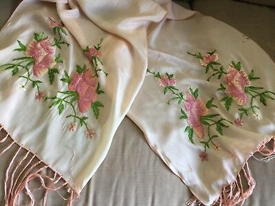 Vintage pink silk embroidered shawl/stole - 1930's Chinese