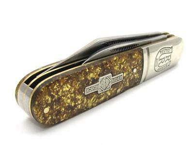 New BARLOW Twin Blade Synthetic Gold Flake Handle Folder Knife