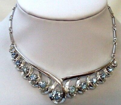 "Stunning Vintage Estate Signed Coro Blue Rhinestone 16"" Necklace!!! 8585I"