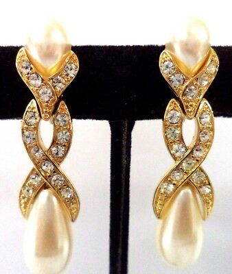 "Stunning Vintage Estate Signed Monet Rhinestone 1 1/8"" Clip Earrings!!!!!! 8585X"