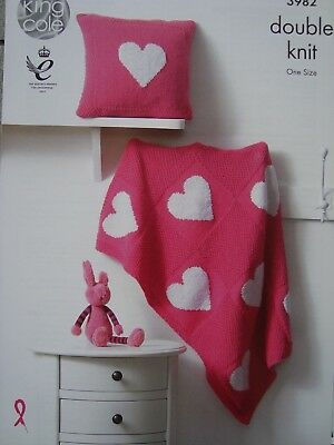 King Cole 3982 Baby's Heart Motif Blanket & Cushion Knitting Pattern