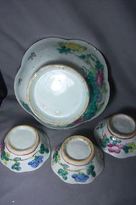 Ming/Qing Dynasty RARE Asian Bowls 1 lrg & 3 sm Famille, Scallop edge VntgCnd